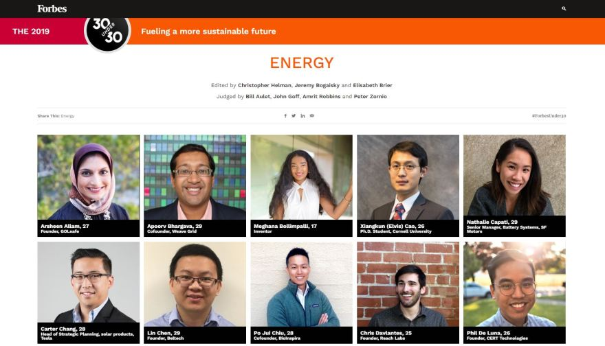 Forbes 30U30 in Energy